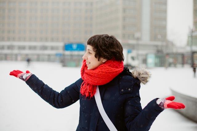 Damaris under the snow