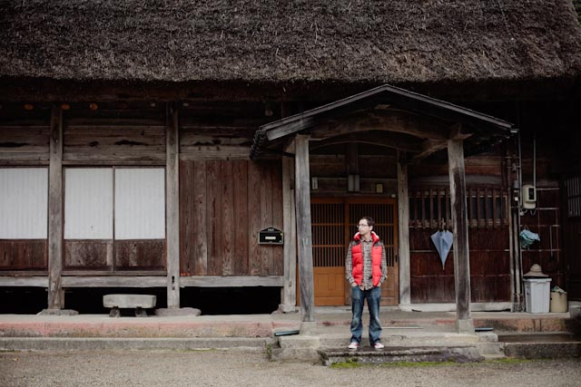 Dani at Ainokura house entrance