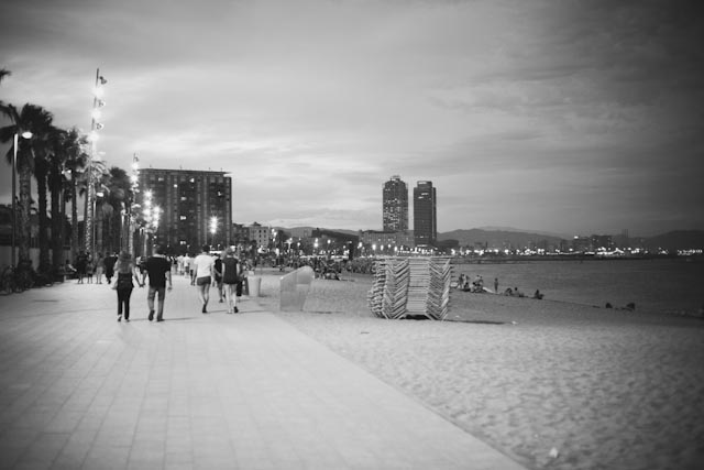Barceloneta beach at night - the cat, you an dus