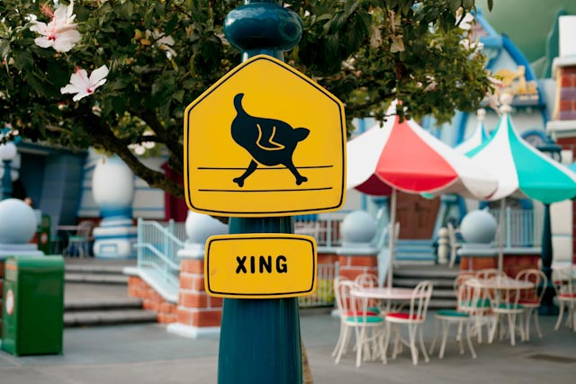 xing sign at Disneyland - the cat you and us