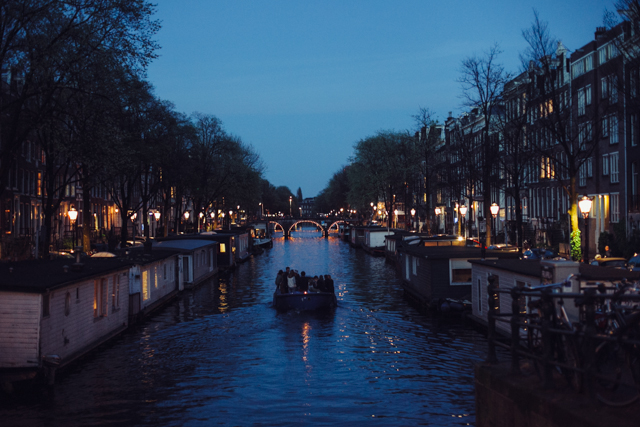 Amsterdam canals at night - The cat, you and us