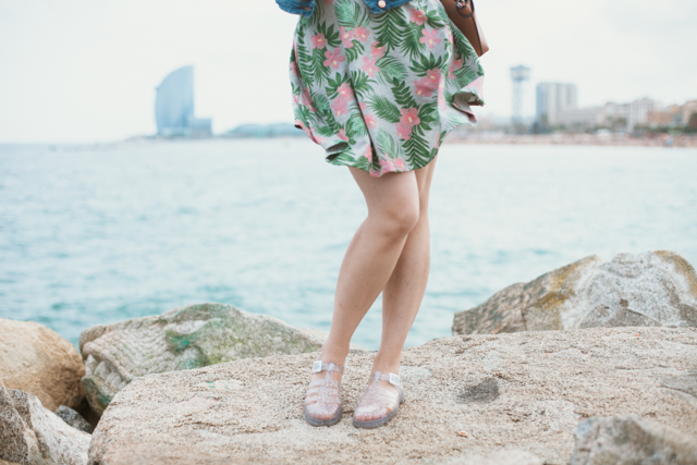 Jelly shoes & tropical skirt - The cat, you and us