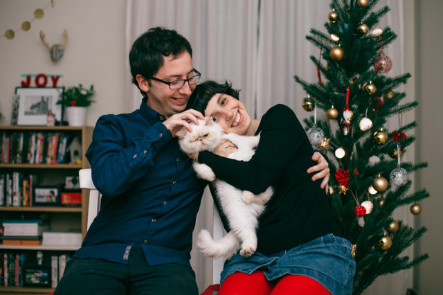 Christmas card bloopers - The cat, you and us