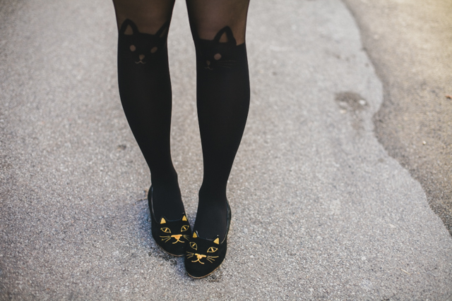 Kitty tights & Charlotte Olympia kitty flats - The cat, you and us