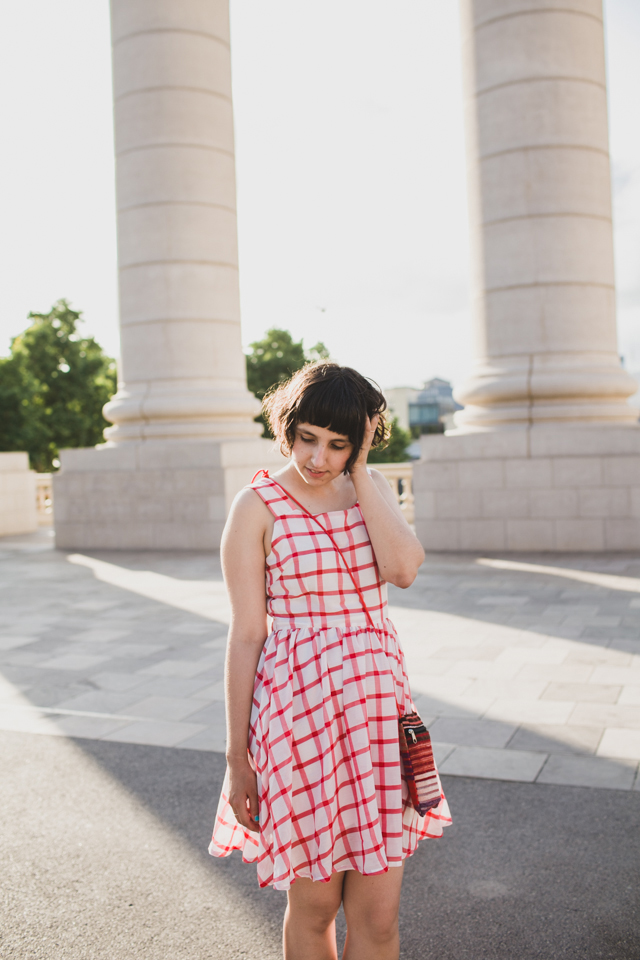 Red Gingham dress with ethnical purse - The cat, you and us