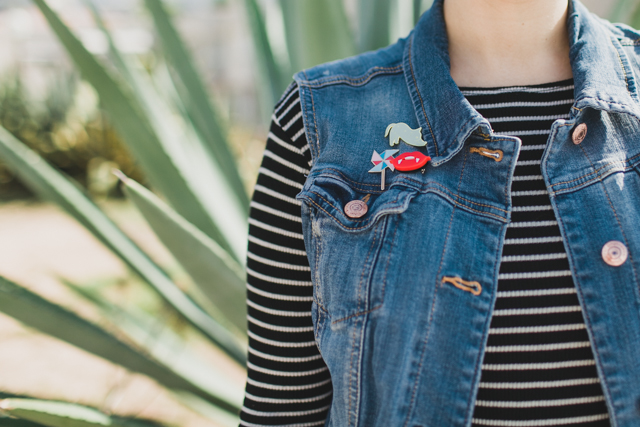 denim vest and pins