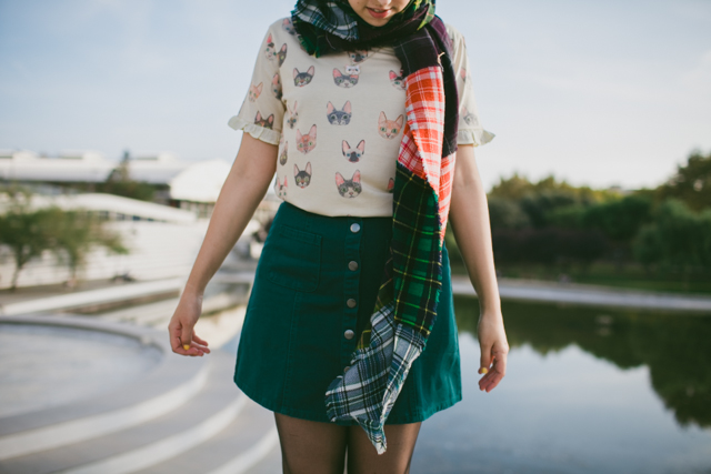 cat t-shirt, green skirt and tartan scarf - The cat, you and us