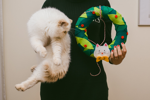 DIY Christmas felt wreath - The cat, you and us