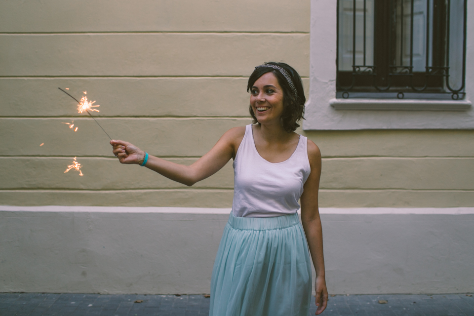 Elena and the sparkler