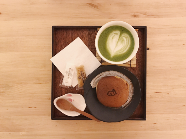 Usagui barcelona matcha latte and dorayaki set - The cat, you and us