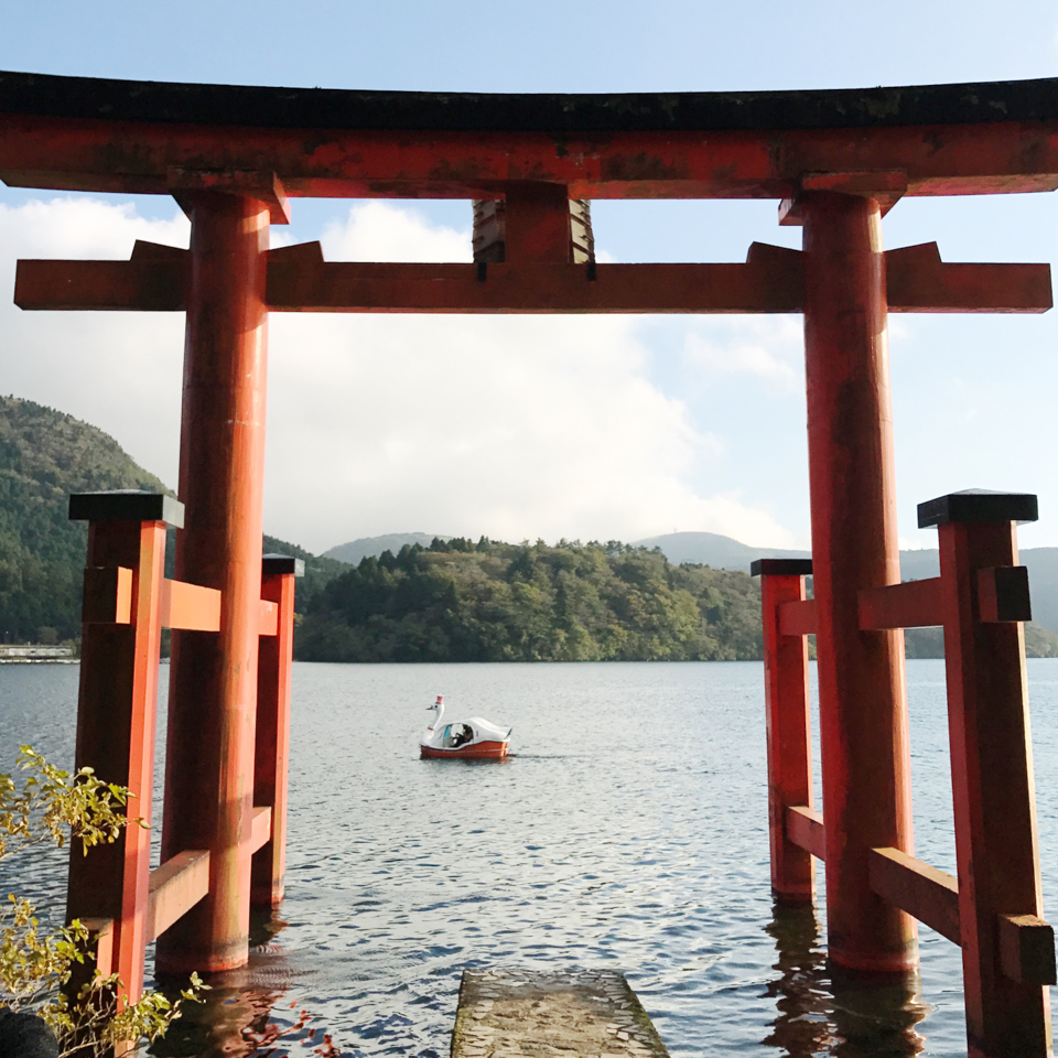 Hakone temple tori in the water - The cat, you and us