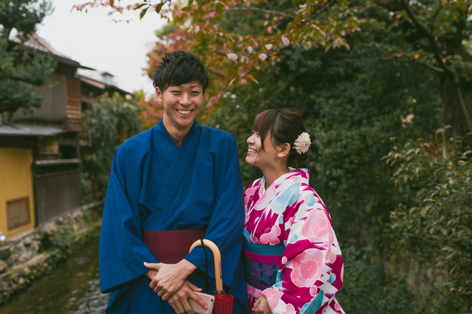 Kyoto traditional couple - The cat, you and us