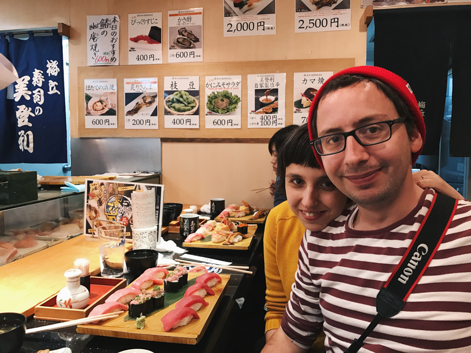 Us in Midori sushi by a Japanese local - The cat, you and us