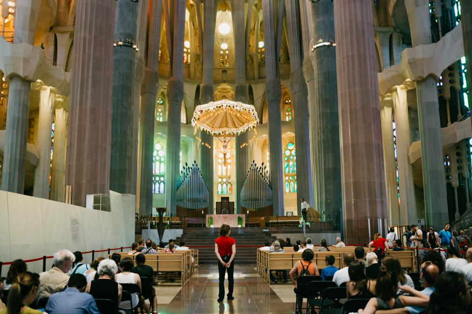 Sagrada Familia colorful interior - The cat, you and us
