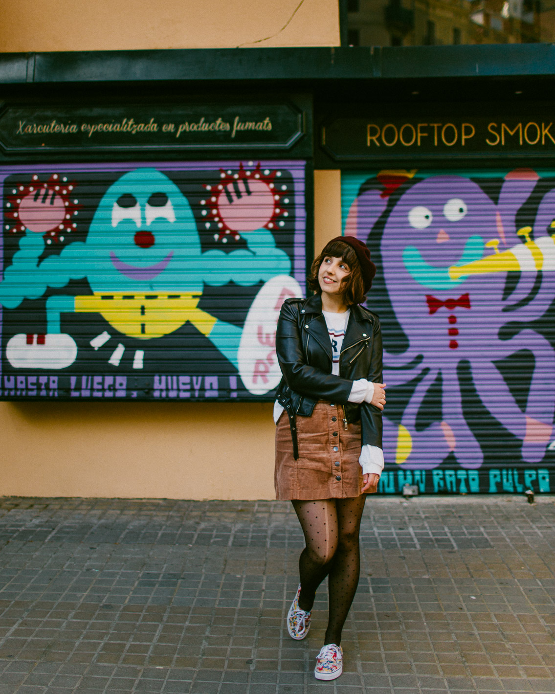 Girls t-shirt & Sant Antoni Rooftop Smokehouse wall-art - The cat, you and us