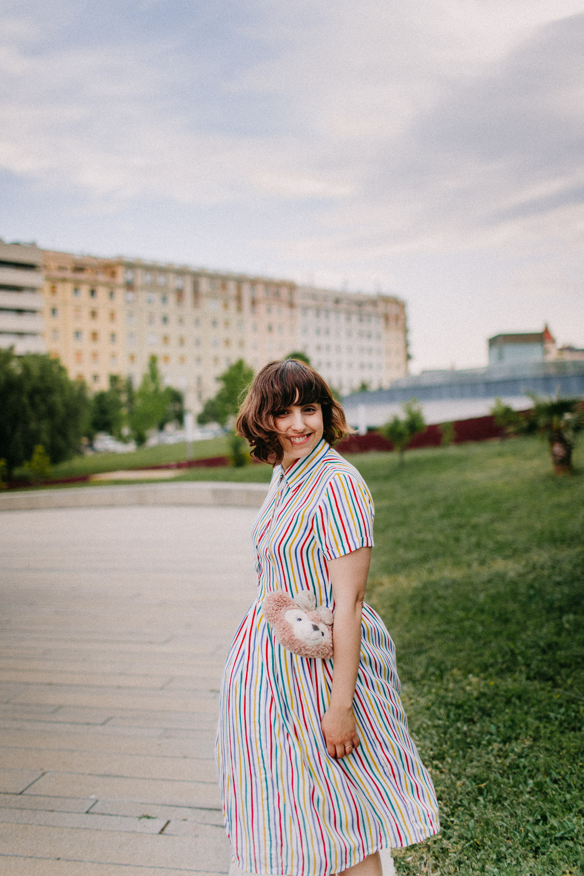 Colorful stripes dress outfit - The cat, you and us