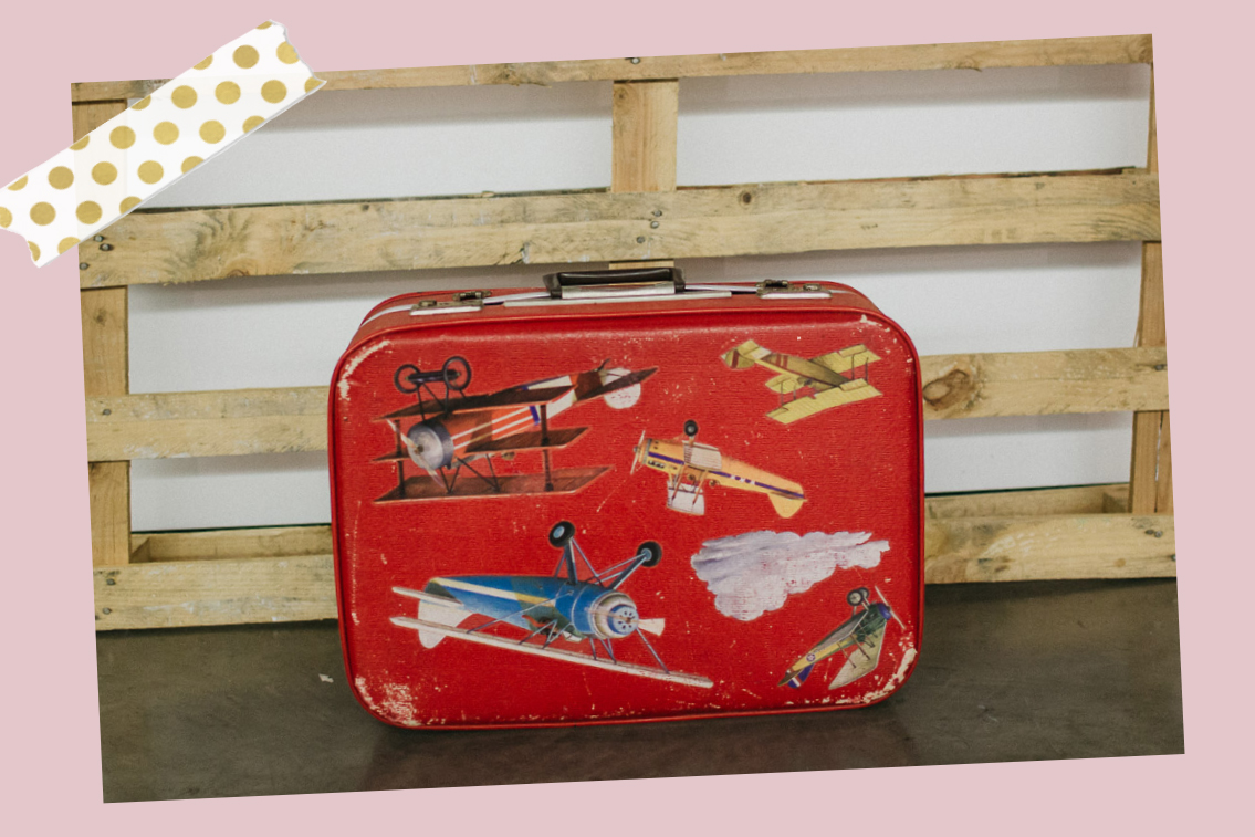Spring in Japan Red vintage suitcase - The cat, you and us