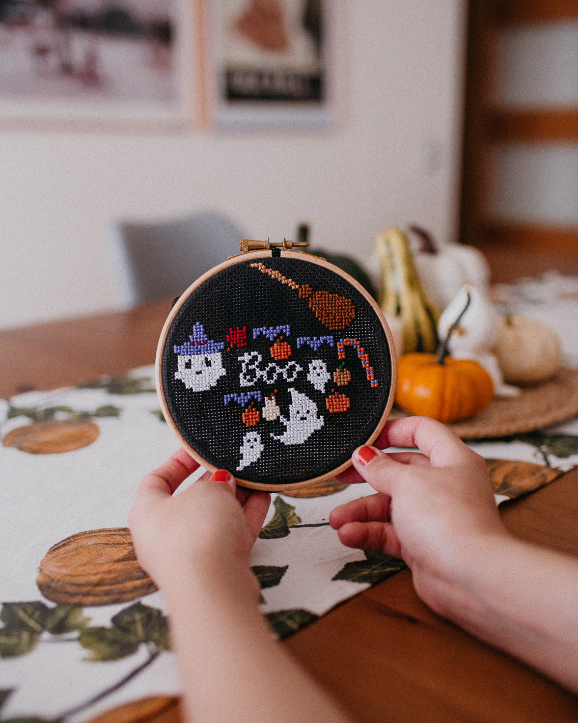 Halloween cross stitch decor 2020 - The cat, you and us